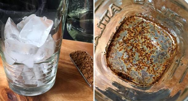 A glass with ice cubes next to brown instant coffee granules; coffee granules in a jar with water