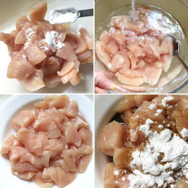 Four pictures: raw chicken pieces mixed with white baking soda, chicken pieces being rinsed in water, a plate of rinsed chicken pieces, raw chicken pieces mixed with sauces and seasonings