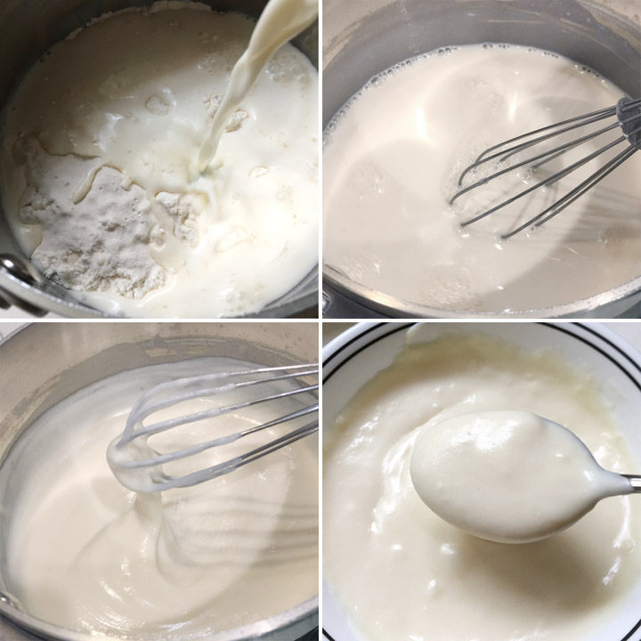Flour and milk cooking in a pot to make a paste