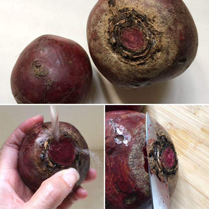 Rinsing and trimming red beets