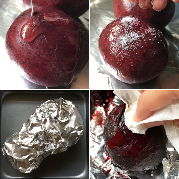 Drizzling oil and sprinkle white salt on raw beets, foil wrapped beets on a pan, rubbing the skin off beets with a paper towel