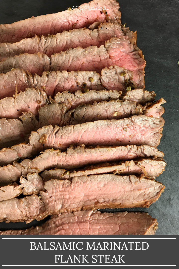 Closeup of slices of brown and pink steak on a black platter, the words balsamic marinated flank steak on the bottom