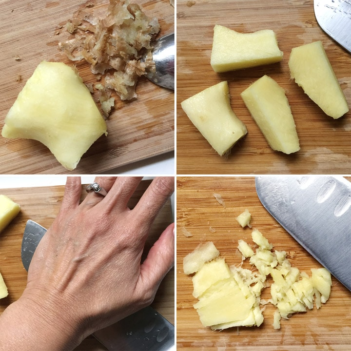 A peeled knob of yellow ginger, ginger pieces, a hand pushing down on the side of a knife, minced ginger on a cutting board