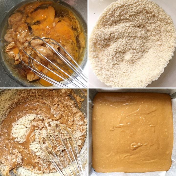 Wet ingredients being whisked together in a bowl, dry flours being mixed into the wet ingredients, orange batter in a square pan