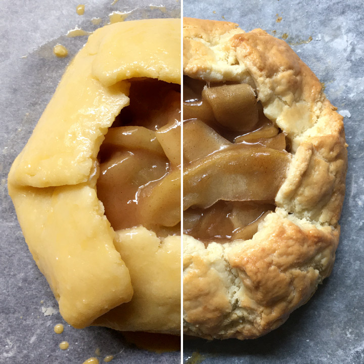 Cooked apples with yellow dough wrapped up and around the edges, split photo of raw on the left, baked on the right