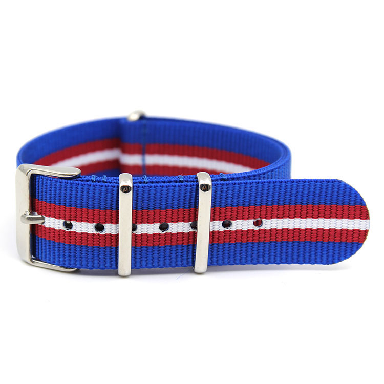 striped nylon watch bands blue red white miliary