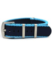seatbelt nato watch strap nylon navy blue light blue