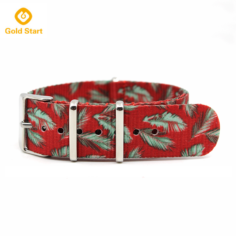 Best Nato Watch Strap Nylon Peacock Feathers Printed