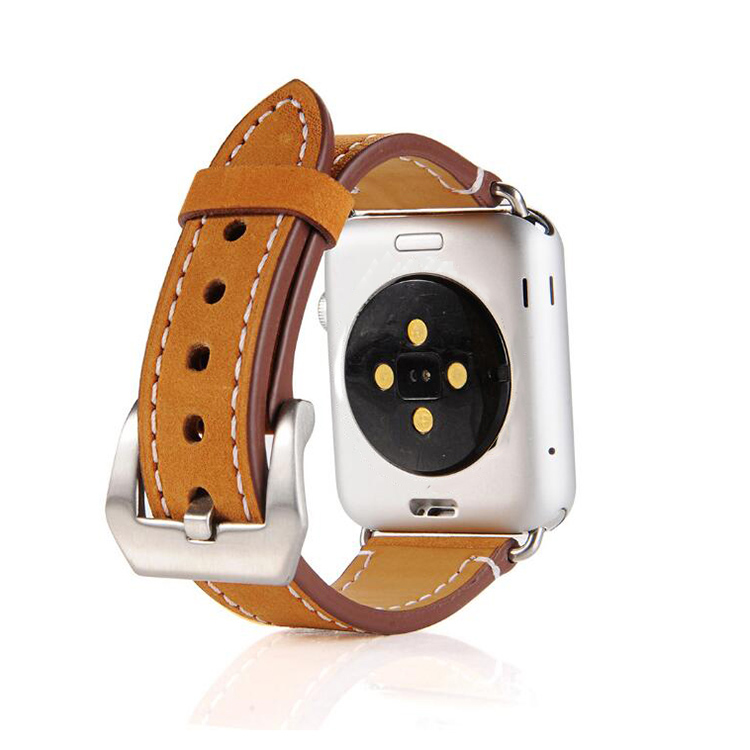 leather apple watch band brown leather brushed buckle