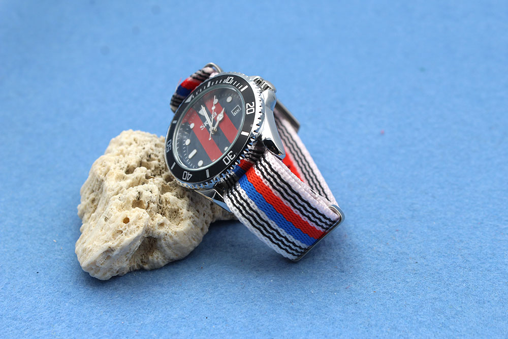 seatbelt nato watch strap factory blue red white striped