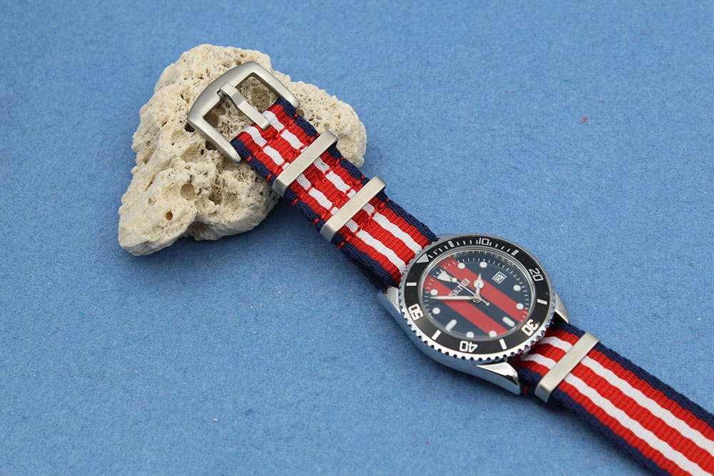 china nato straps factory navy blue red military brushed hardware