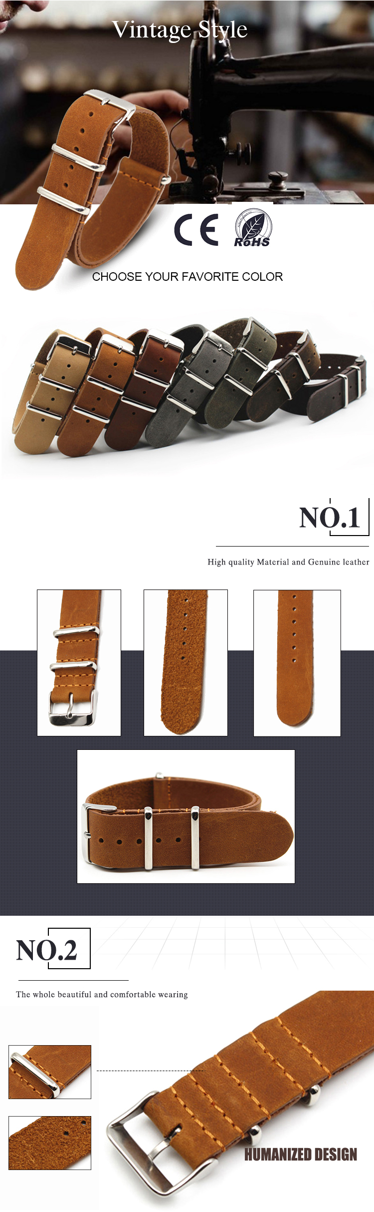 high quality Leather nato watch strap stainless steel hardware