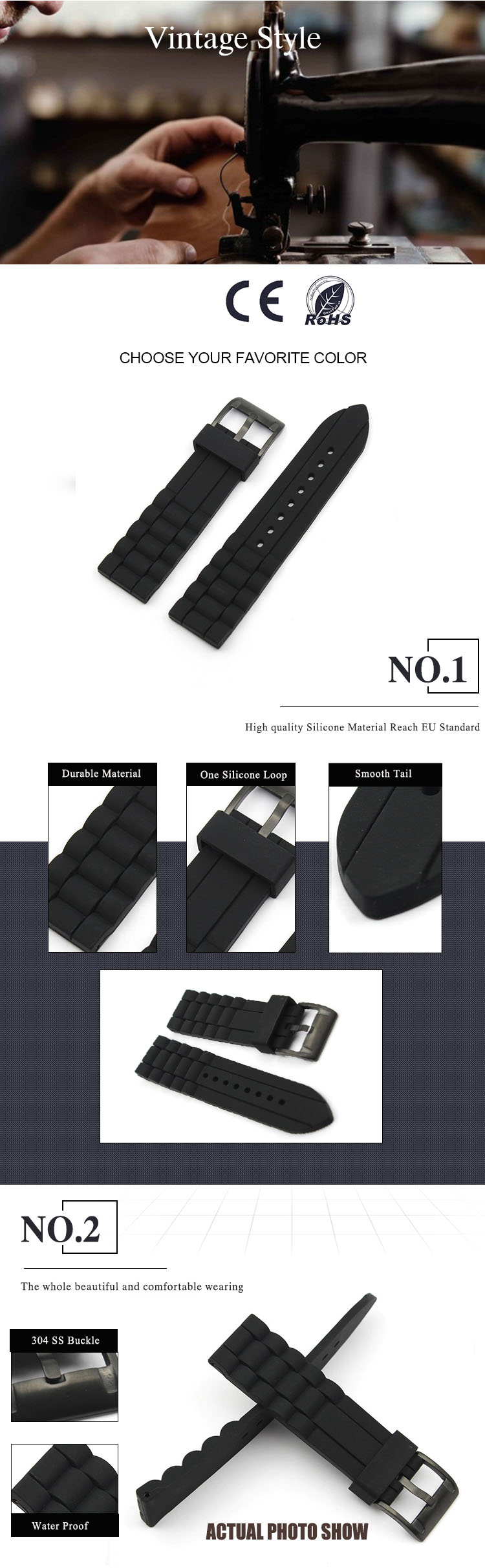Black Military Silicone Watch Band Manufacturer PVD black Buckle