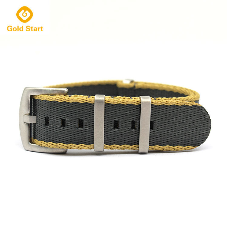 22mm nylon watch band khaki grey seatbelt nato