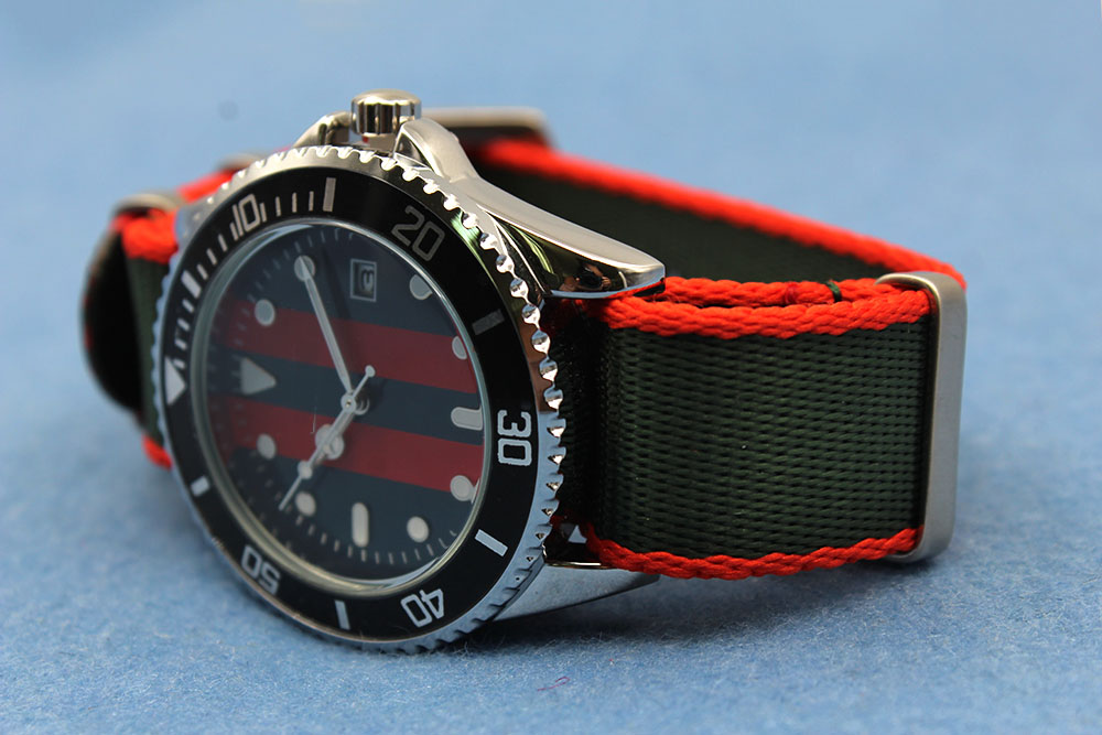 22mm green red nato replacement watch strap nylon
