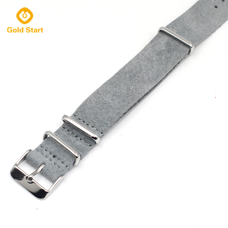 20mm gray genuine leather suede nato strap