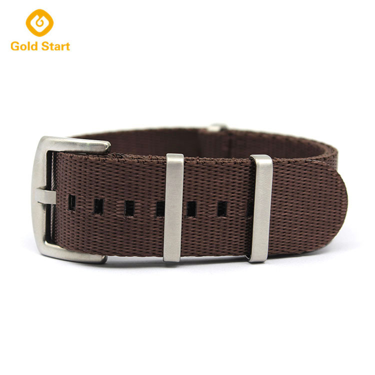 Brown seatbelt one piece watch strap Nato