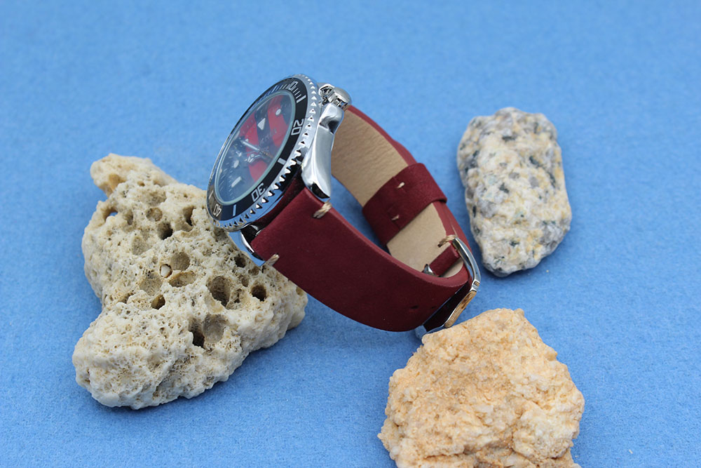 maroon suede leather 20mm watch band