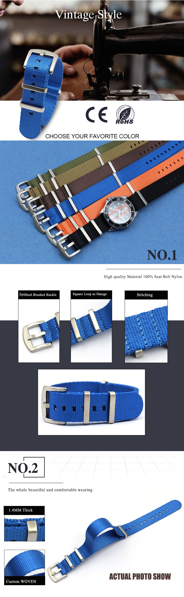 Seatbelt blue nato strap nylon