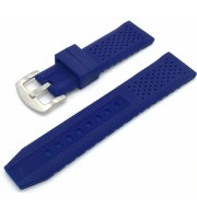 tropic watch strap blue rubber brushed buckle
