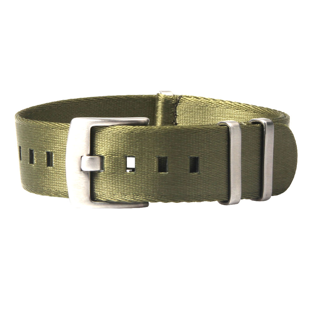 Military soft nato strap army green heavy duty brushed hardware