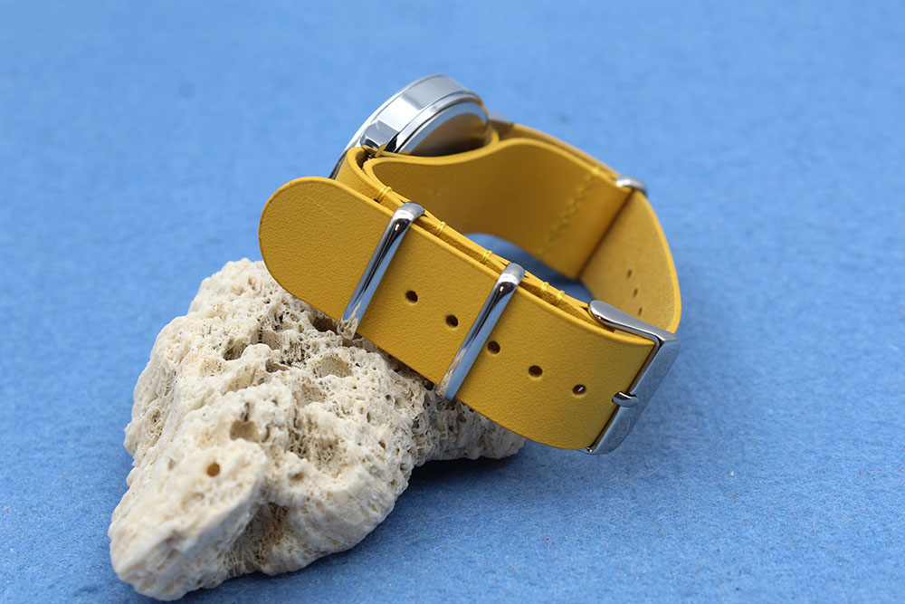 20mm nato strap genuine leather yellow