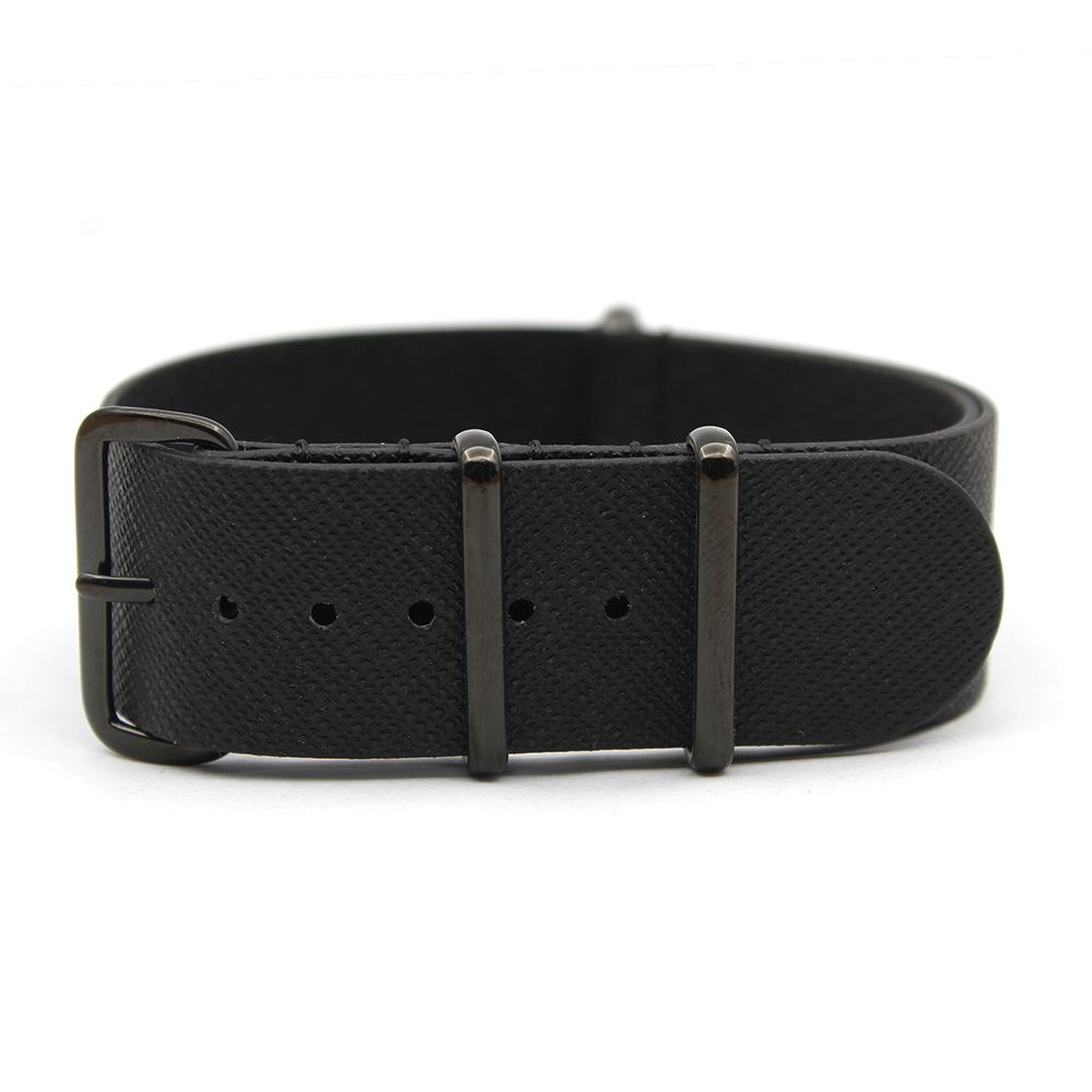 black leather nato strap pvd black pu leather
