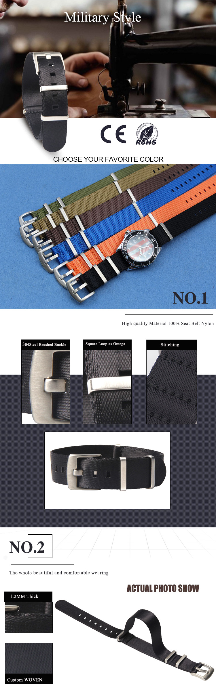 black nato strap seatbelt heavy duty buckle