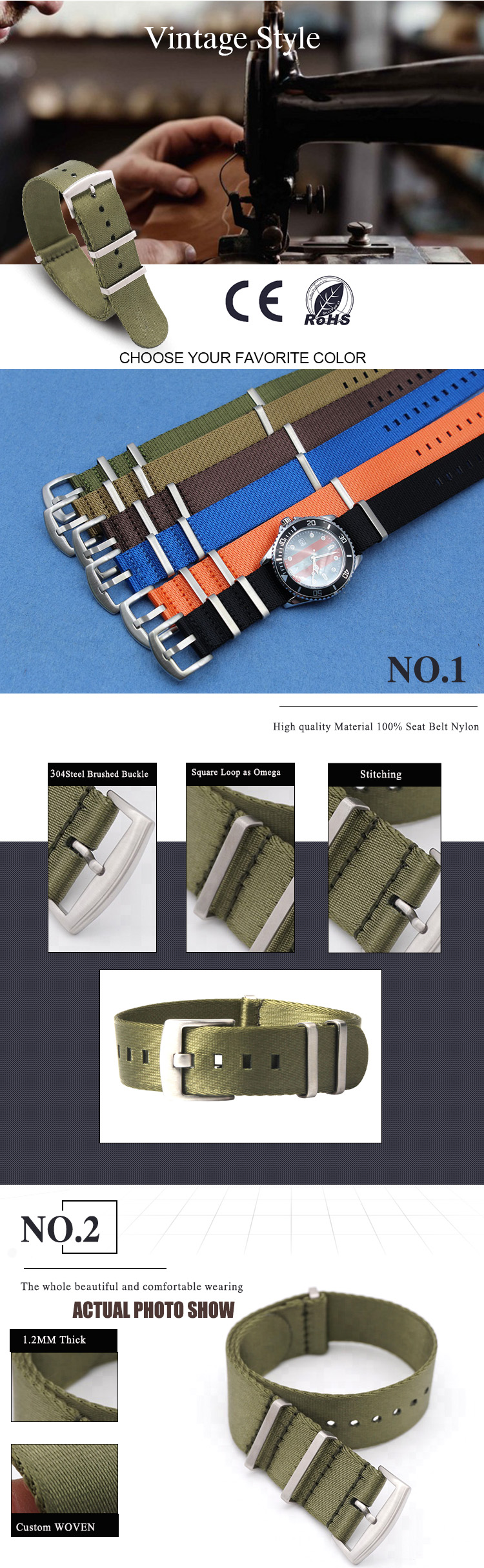 best soft nato strap green 20mm 1.2mm thick heavy duty buckle