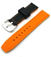 black sport watch strap orange silicone steel buckle
