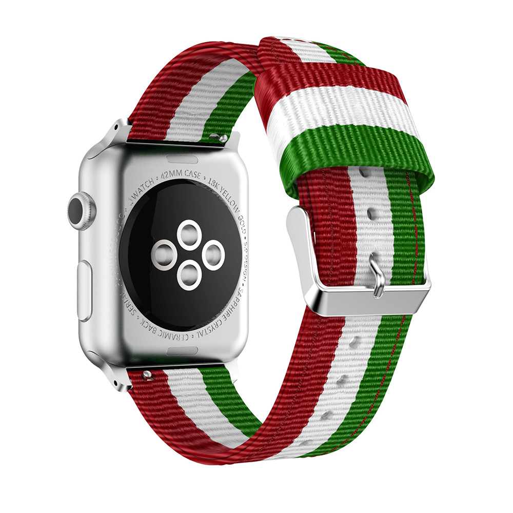 striped nylon watch bands green white red apple watch
