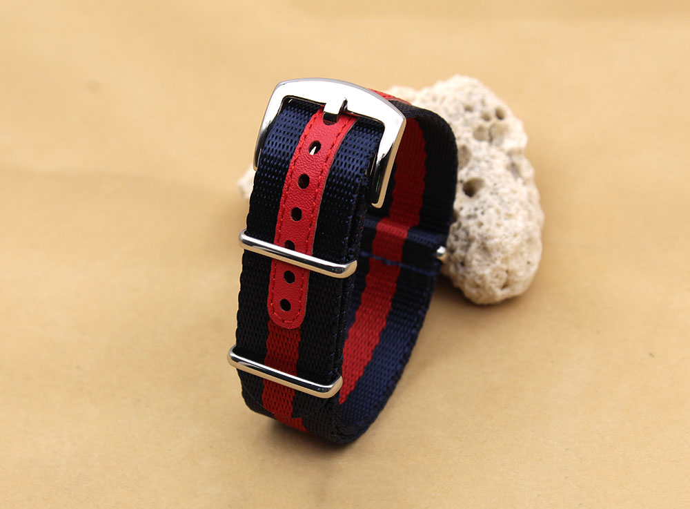 blue red seatbelt nato watch strap heavy duty 20mm