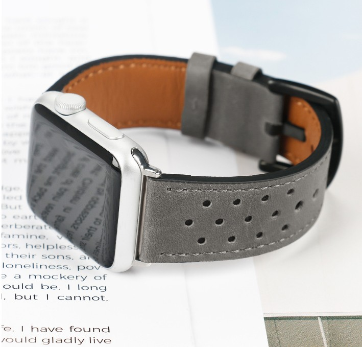 grey leather watch strap for apple watch 38 42 44
