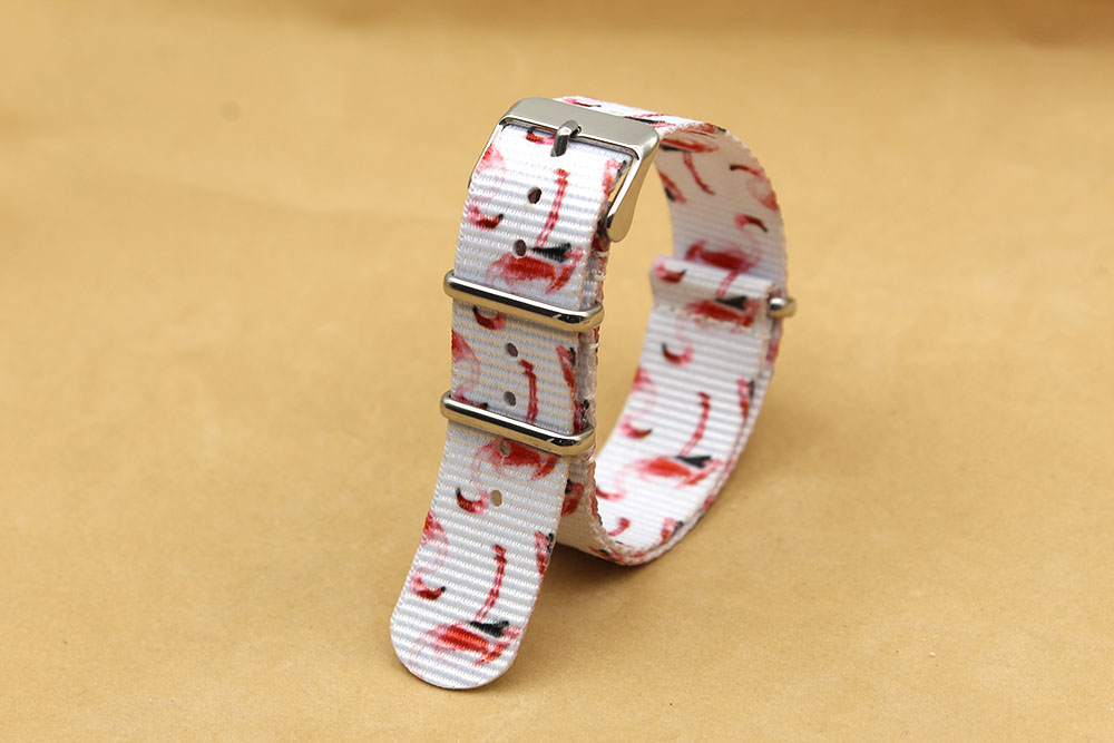 tropical nato strap flamingo graphic