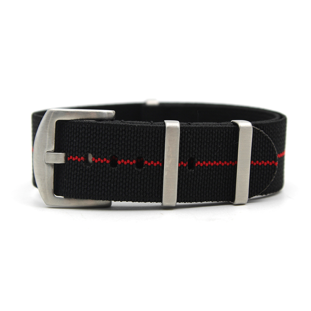 parachute watch band heavy duty nato style black red
