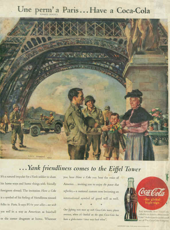 American Soldiers In France Coca Cola Ad 1945