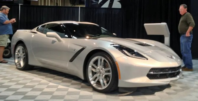 The all-new silver Corvette C7 at Barrett-Jackson, Las Vegas, NV