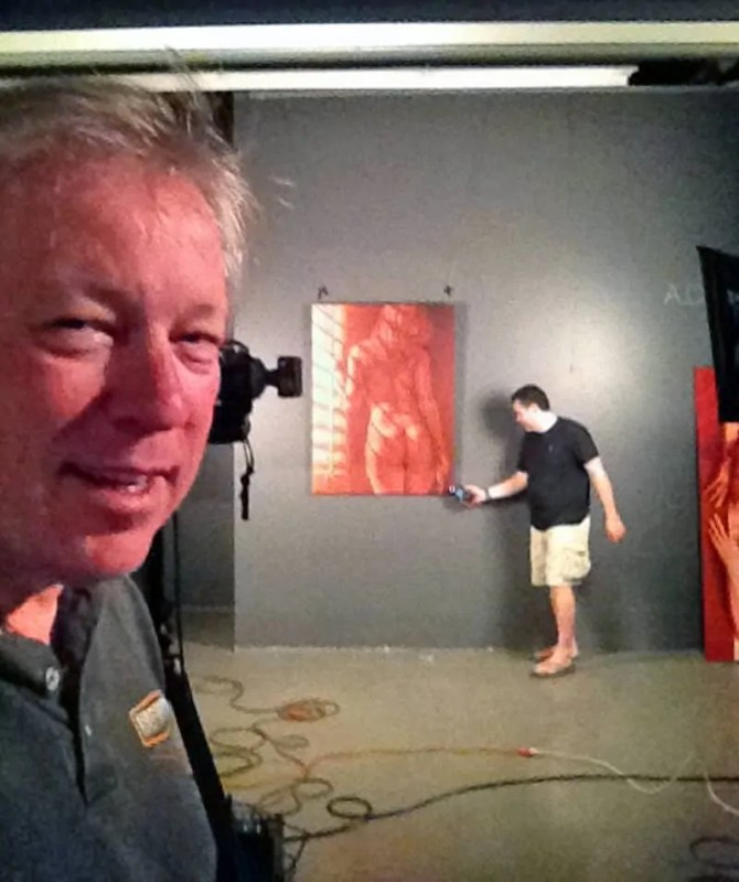 A.D. Cook and Barrett Adams photographing Ardot at the Gallery