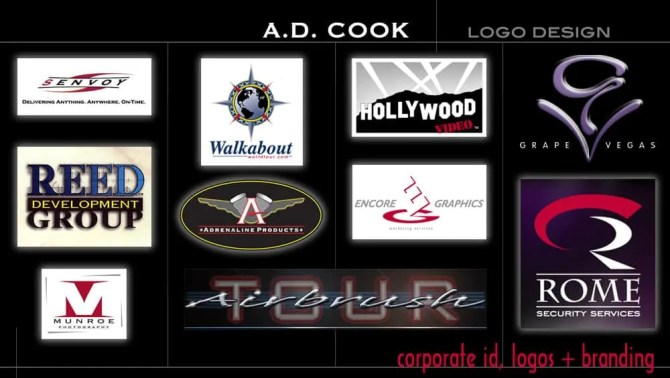 A.D. Cook Logo Design and Branding - Holloywood Video, Rome Security, Grape Vegas