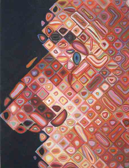 Paul IV painting detail by Chuck Close