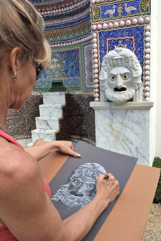 Beti Kristof drawing at the Getty Villa, Malibu, CA