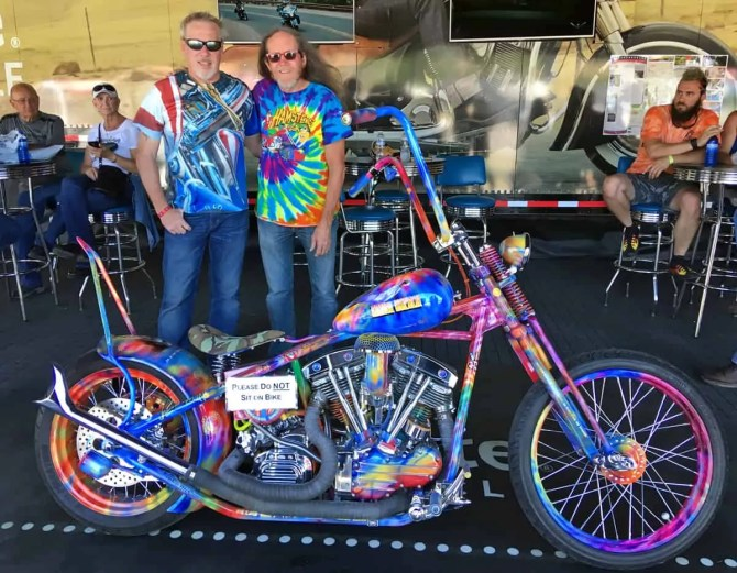Motorcycle Artist A.D. Cook with Master Builder Rick Fairless at Sturgis.