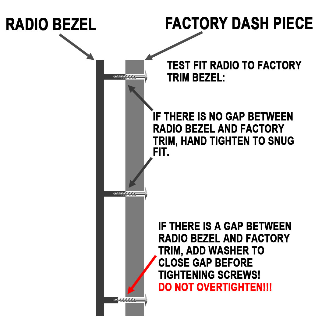 hight resolution of inspect the fit of the radio bezel to factory dash trim before tightening screws