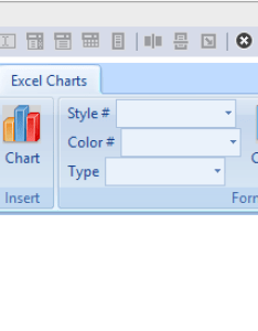 Three dropdowns and buttons added to the custom excel ribbon tab also working with charts change  chart style color or type  rh add in express