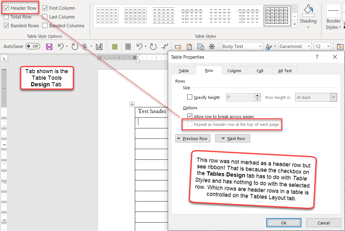 hight resolution of header rows in word tables help
