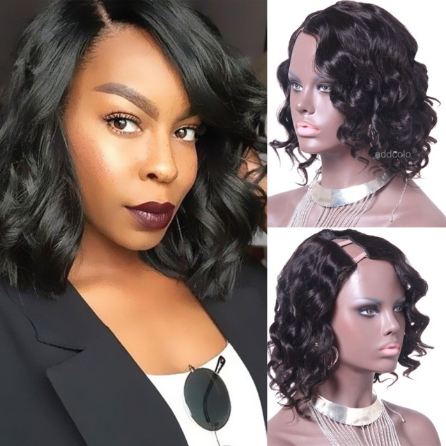 short hair wigs brazilian hair loose wave right part cheap u part wigs