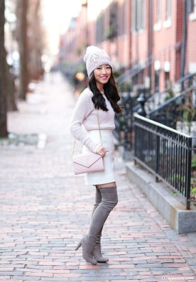 Adorable Winter Outfits Ideas Boots Skirts35