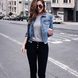 Delightful Winter Outfits Ideas Denim Jacket27