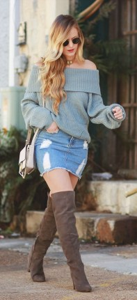 Fancy Winter Outfits Ideas Jean Skirts18