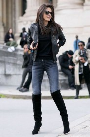 Pretty Winter Outfits Ideas Black Leather Jacket38